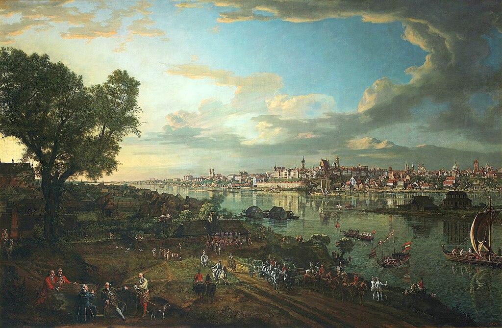> Veduta di Varsavia da Praga nel 1770 da Bellotto (Canaletto).
