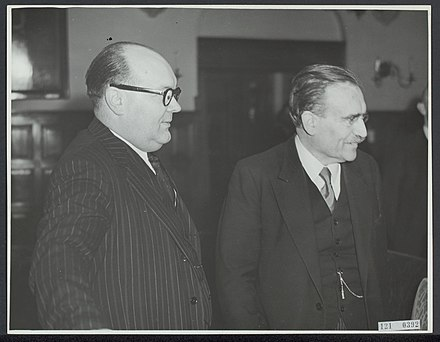 Prime Minister of Belgium Paul-Henri Spaak and Prime Minister Willem Drees at a Benelux conference in The Hague on 10 March 1949. Benelux-conferentie in Den Haag van 10 tm 12 maart 1949. De Belgische minister-, Bestanddeelnr 121-0392.jpg