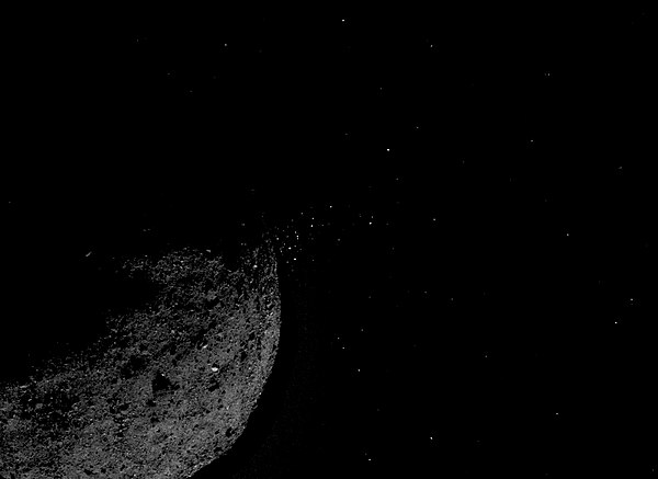 Image of Bennu ejecting particles from its surface, taken by OSIRIS-REx on 19 March 2019. Bennu-Particle-Ejection-Event-20190119.jpg