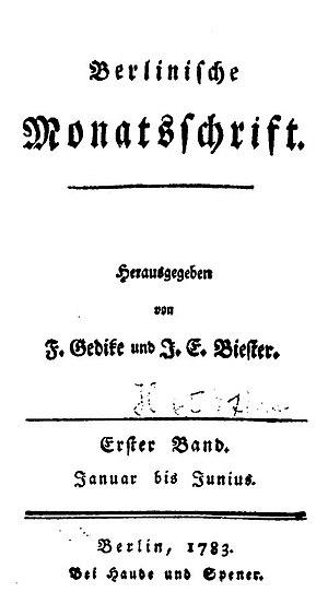 Berlinische Monatsschrift - Cover, 1783