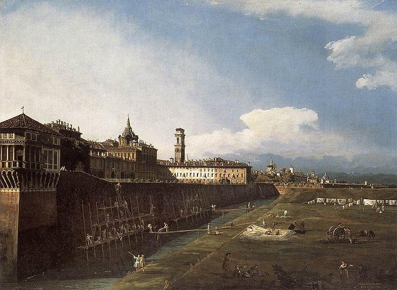 Archivo: Bernardo Bellotto, il Canaletto - Vista de Turín, cerca del Palacio Real - WGA01818.jpg