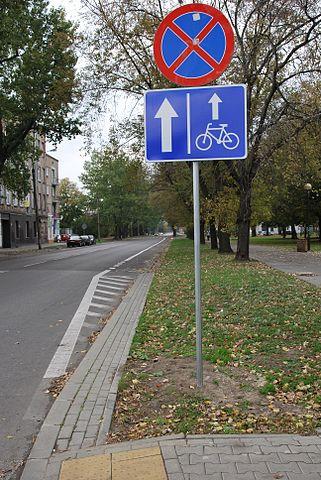 Pas ruchu dla rowerów w ul. Lutomierskiej był pierwszym w Łodzi. Foto: Zorro2212 commons.wikimedia.org