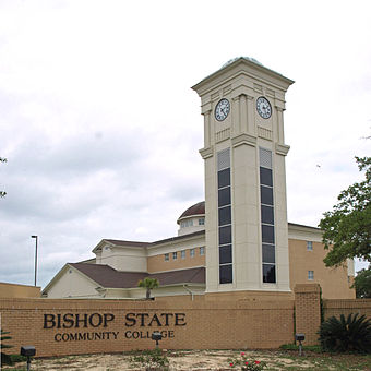 The Business Technology Center and clock tower at Bishop State Community College Bishop State clock tower May 2012 cropped.jpg