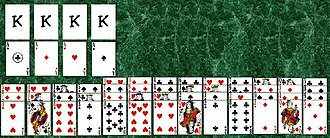 Bisley (solitaire) - The initial layout of the game of Bisley. This follows the overlapping-cards rule set rather than the laying-out-the-cards rule set.