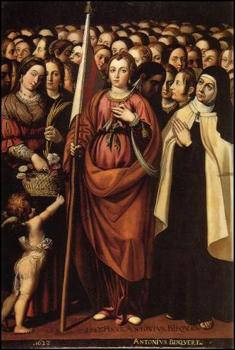 Antonio Bisquert - Saint Ursula and the holy Jesus by Antonio Bisquert, Teruel Cathedral, 1623