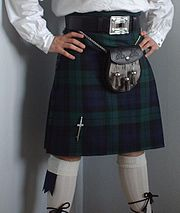 A kilt in the Black Watch tartan