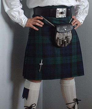 A Black Watch or Campbell tartan kilt (date un...