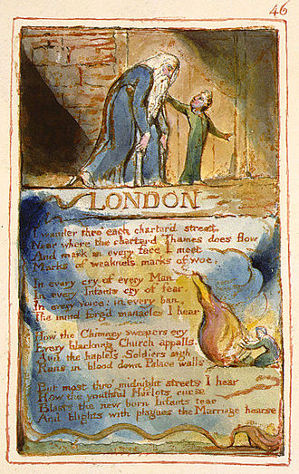 "London (William Blake poem) - This image is a digital reproduction of his hand-painted 1826 print of ""London"" from Copy AA of Songs of Innocence and Experience. The item is currently in the Collection of the Fitzwilliam Museum."