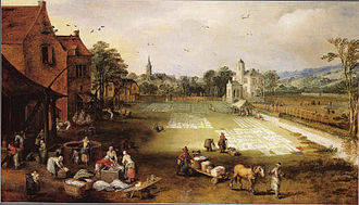 Bleachfield - Bleekveld in een dorp (Bleachfield in a village), circa 1650 (Jan Brueghel the Younger)