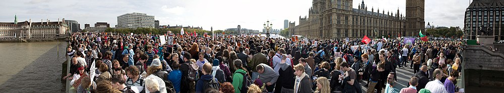 This protest was attended by 2-3000 people in protest over the Health and Social Care Bill 2011. It is a panorama shot, stiched together from several smaller images, and then compressed using JPEGmini.
