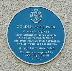 Photo of Golden Acre Park blue plaque