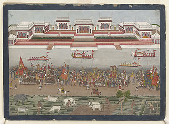 Shuja-ud-Daula - Procession of Nawab Shuja-ud-Daula at Faizabad. From an album of 18th century Indian watercolours.