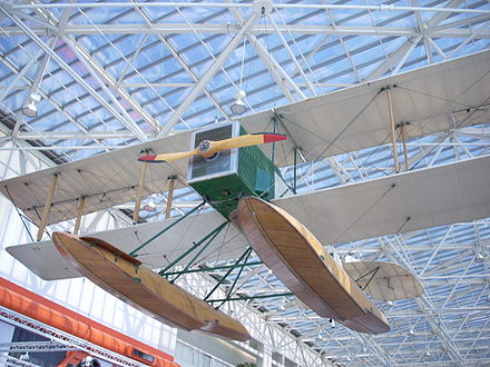 Replica of Boeing's first plane, the Boeing Model 1, at the Museum of Flight Boeing B&W.jpg