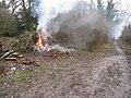 Bonfire on bridleway near Rapkyns - geograph.org.uk - 1710857.jpg