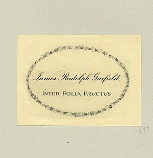 Helen Newell Garfield - Bookplate of James Rudolph Garfield, designed by Helen Newell Garfield