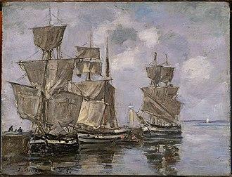 Honfleur - Eugène Boudin, Navires dans le Port à Honfleur, 1856, Princeton University Art Museum