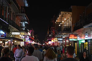Bourbon Street - Looking northeast from Iberville Street in 2015