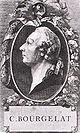 """Vignette mit einem Portrait Bourgelats als Titelkupfer seines Werkes """"Traité de la conformation extérieure du cheval"""""""