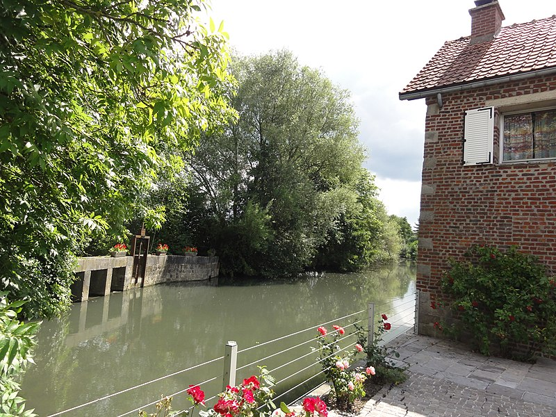 Bousies (Nord, Fr) moulin d'Harpies et étang