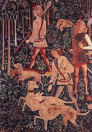 German Hound - Bracken hounds (the two dogs in back) with greyhounds on a hunt in the 15th century.