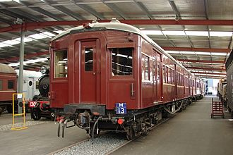 Rail rolling stock in New South Wales - Preserved Bradfield motor car C3045 at the New South Wales Rail Transport Museum in 2010