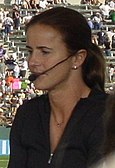 Brandi Chastain commentating on a game