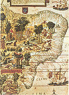 Map of Brazil issued by the Portuguese explorers in 1519.