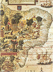 Map of Brazil issued by the Portuguese explore...