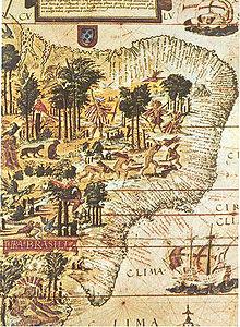 Dettaglio della mappa della Terra Brasilis (1519), custodita alla Bibliothèque nationale de France.