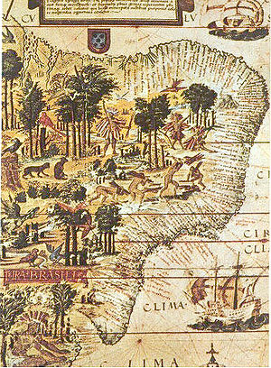 Name of Brazil - 1519 map of the coast of Brazil, showing the harvesting of brazilwood.