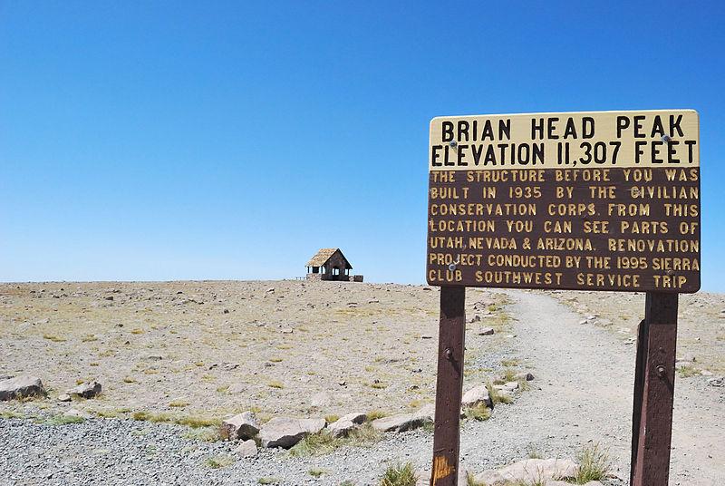 File:Brian Head Peak summit sign.jpg