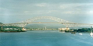 Bridge of the Americas road bridge in Panama which spans the Pacific entrance to the Panama Canal