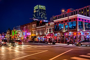 Broadway (Nashville, Tennessee) - Buildings on Lower Broadway illuminated at night