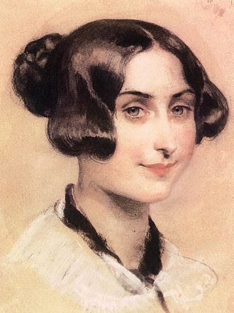 Elizabeth Barrett Browning - Portrait of Barrett Browning by Károly Brocky, ca. 1839–1844