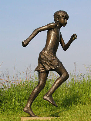 City of Norwich School - Bronze sculpture by Brian Alabaster ARBS of Tom Running at City of Norwich School