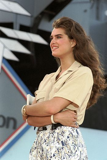 English: Brooke Shields at Naval Air Station, ...