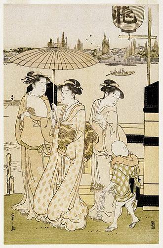 Eishi - Image: Brooklyn Museum Three Women and a Boy Along the Sumida River Eishi Chobunsai