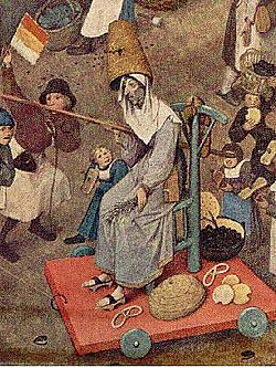 "Lent personified at a Carnival celebration. Detail of 1559 painting ""The Battle between Carnival and Lent"" by Pieter Bruegel the Elder."