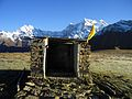 Buda Madhyamaheshwar Temple with background of Mount Chaukhamba and Mount Mandani.JPG