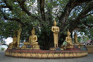 Buddha sculptures at That Luang
