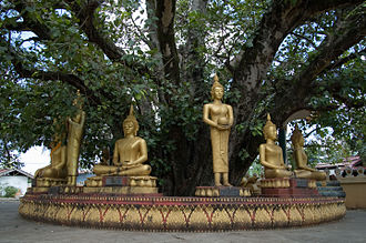 Vientiane - Buddha sculptures at Pha That Luang