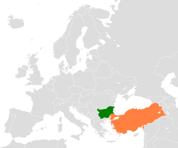 Map indicating locations of Bulgaria and Turkey
