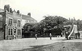 Hazel Grove - The Bull's Head pub and Bullock Smithy Inn at the Hazel Grove tram terminus around 1900