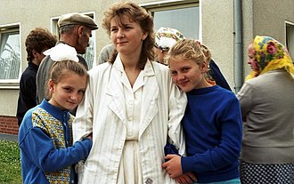 Immigration to Germany - German repatriates from Kazakhstan arriving in a camp in Friedland in 1988