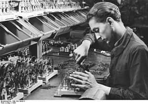 Recusant's insignia - A young Frenchman forced to work in Germany at the Berlin Siemens plant, 1943