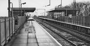 Burnage railway station - View northward, towards Manchester (London Road) in 1965