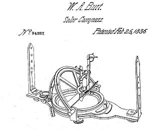 Solar compass - 1836 solar compass patent drawing