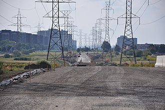 York University Busway - Hydro Corridor Busway under construction in August 2009