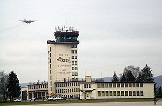 Ramstein Air Base - A C-130 Hercules overflies the control tower at Ramstein Air Base