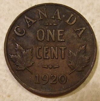 Penny (Canadian coin) - A 1920 penny featuring King George V, the first year of the small penny